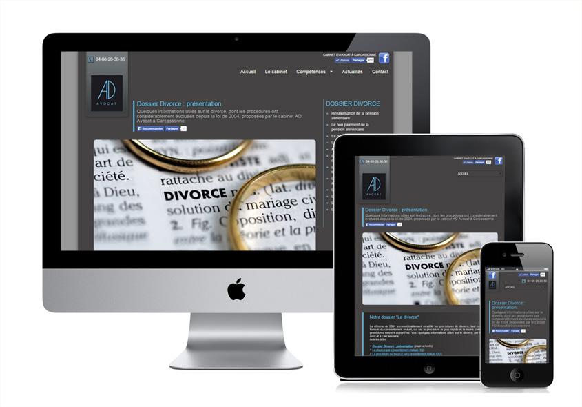 Modifications du site internet d'un avocat à Carcassonne. Principalement sur l'aspect responsive pour les mobiles et sur les outils d'administration des contenus.